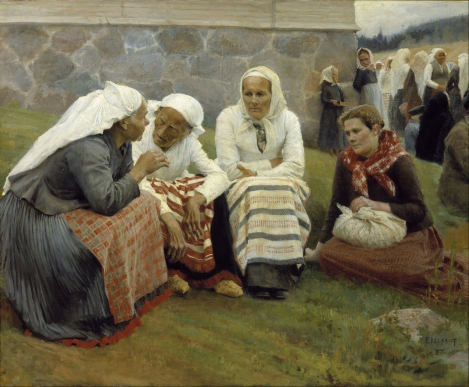 Albert Edelfelt, Women Outside the Church at Ruokolahti (1887), oil on canvas, 129.5 x 158.5 cm, Ateneum, Helsinki. Wikimedia Commons.