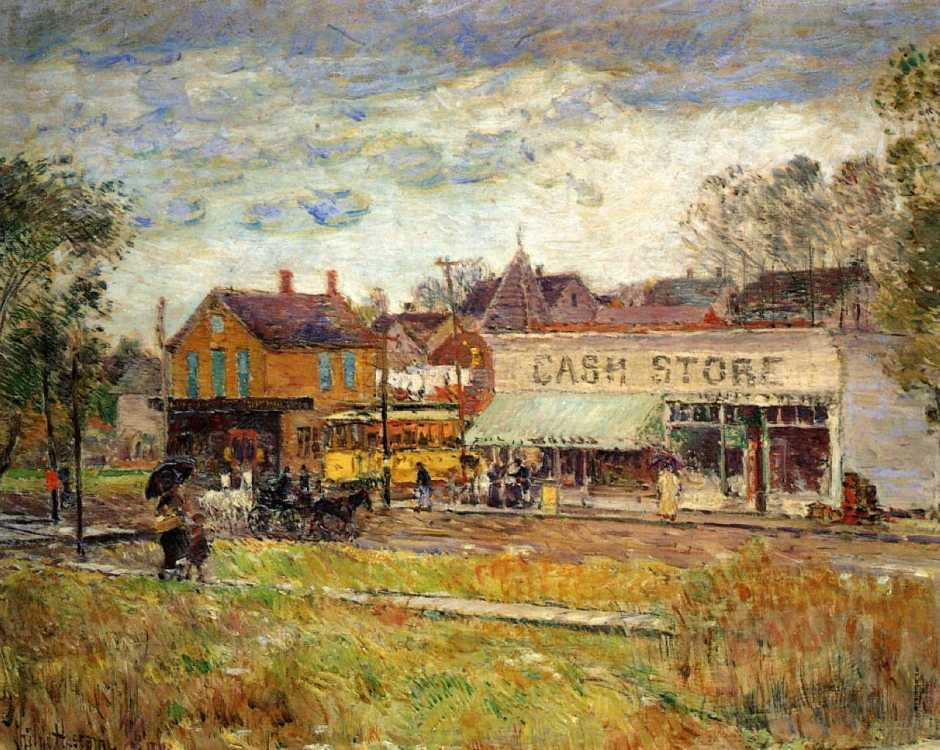 Frederick Childe Hassam, End of the Trolley Line, Oak Park, Illinois (c 1893), oil on canvas, 44.5 x 55.25 cm, Private collection. WikiArt.