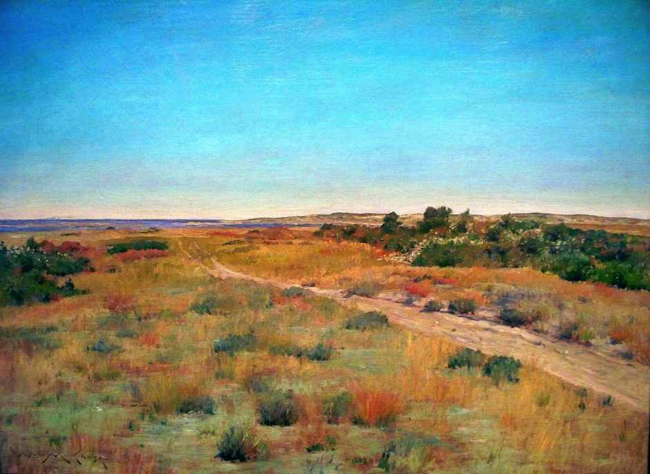 William Merritt Chase, First Touch of Autumn (c 1898), oil on canvas, 101.9 x 127.3 cm, Indianapolis Museum of Art, Indianapolis, IN. WikiArt.