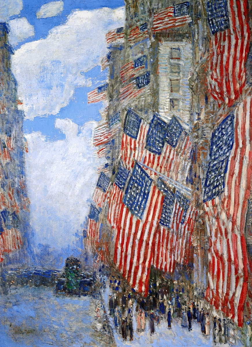 Frederick Childe Hassam, The Fourth of July, 1916 (1916), oil on canvas, 91.4 x 66.4 cm, Private collection. WikiArt.