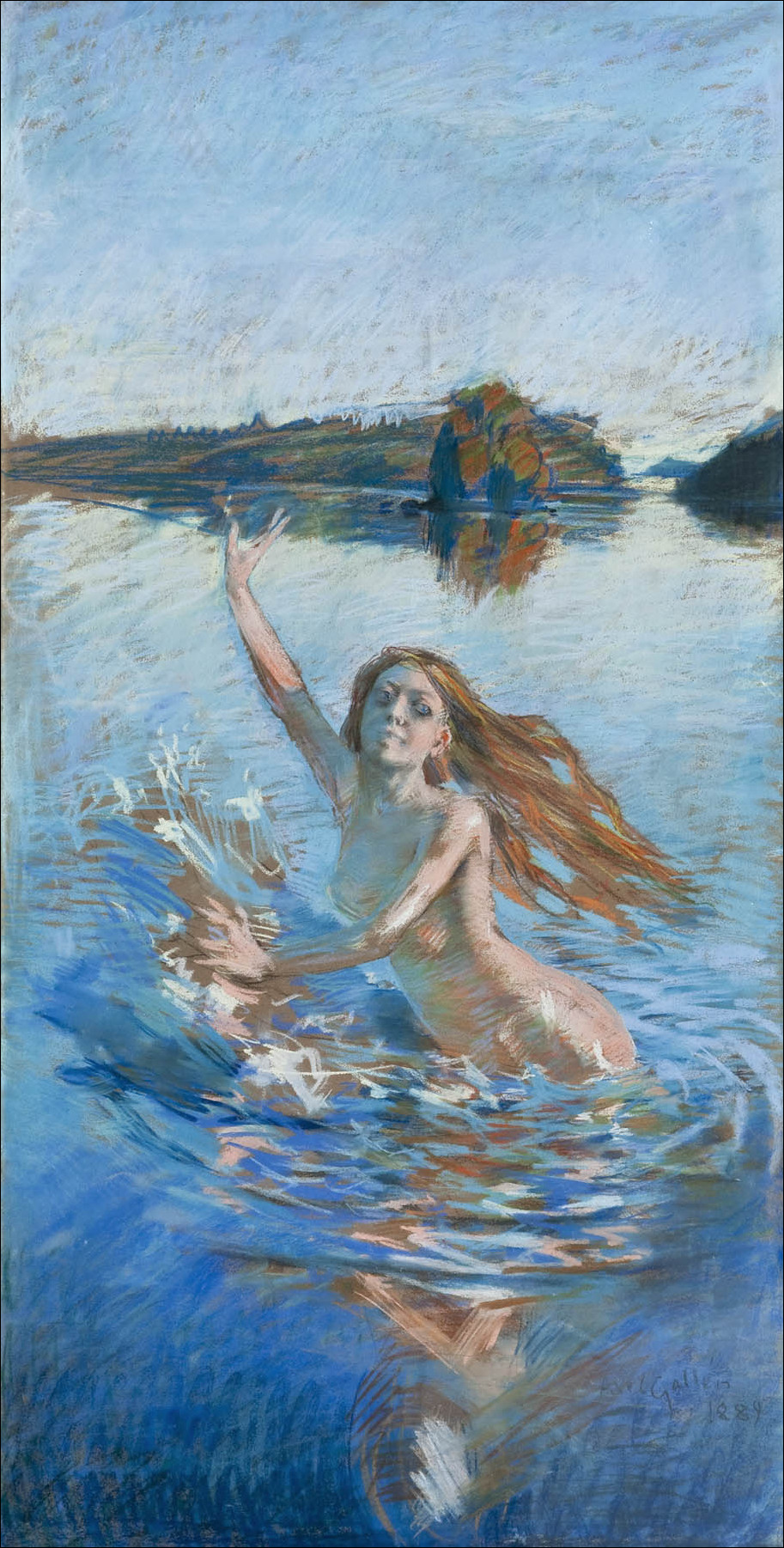 Akseli Gallen-Kallela, Aino (study) (1889), pastel, 157 x 78 cm, Private collection. Wikimedia Commons.