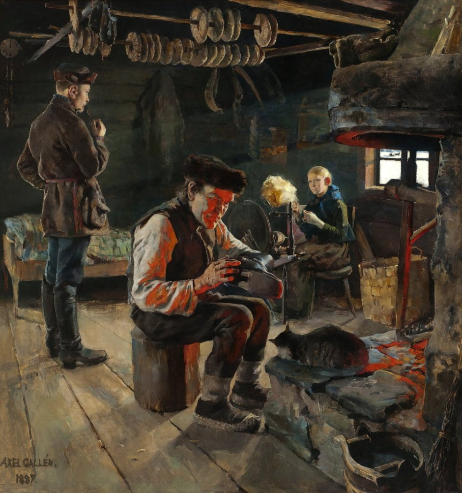 Akseli Gallen-Kallela, Rustic Life (1887), oil on canvas, 94 x 90 cm, Private collection. Wikimedia Commons.