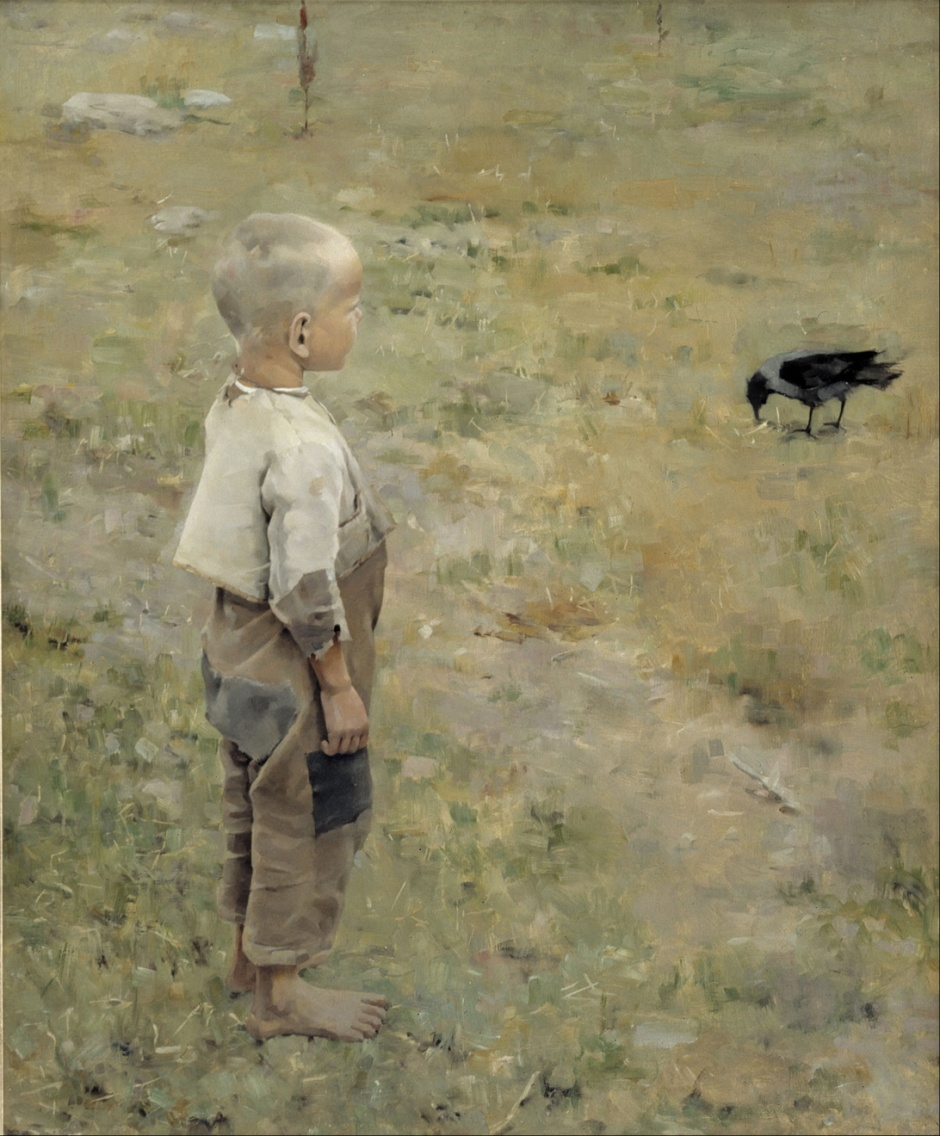 Akseli Gallen-Kallela, Boy with a Crow (1884), oil on canvas, 86 x 72 cm, Ateneum, Helsinki. Wikimedia Commons.