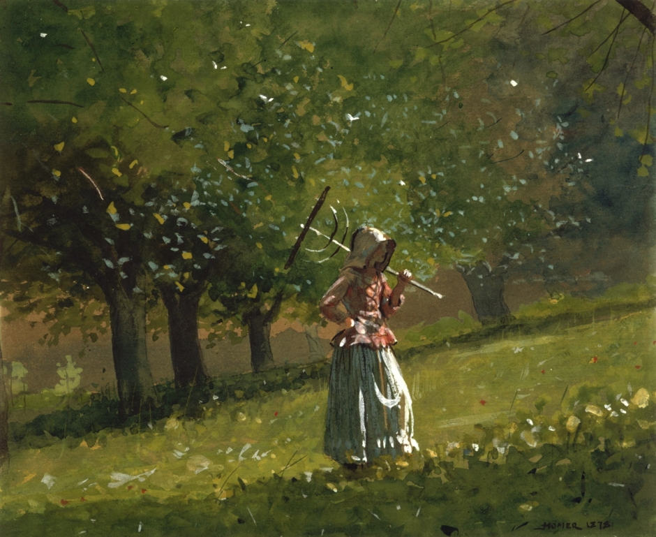 Winslow Homer, Girl with Hay Rake (1878), watercolour on wove paper, 17.6 x 21.4 cm, The National Gallery of Art, Washington, DC. Wikimedia Commons.
