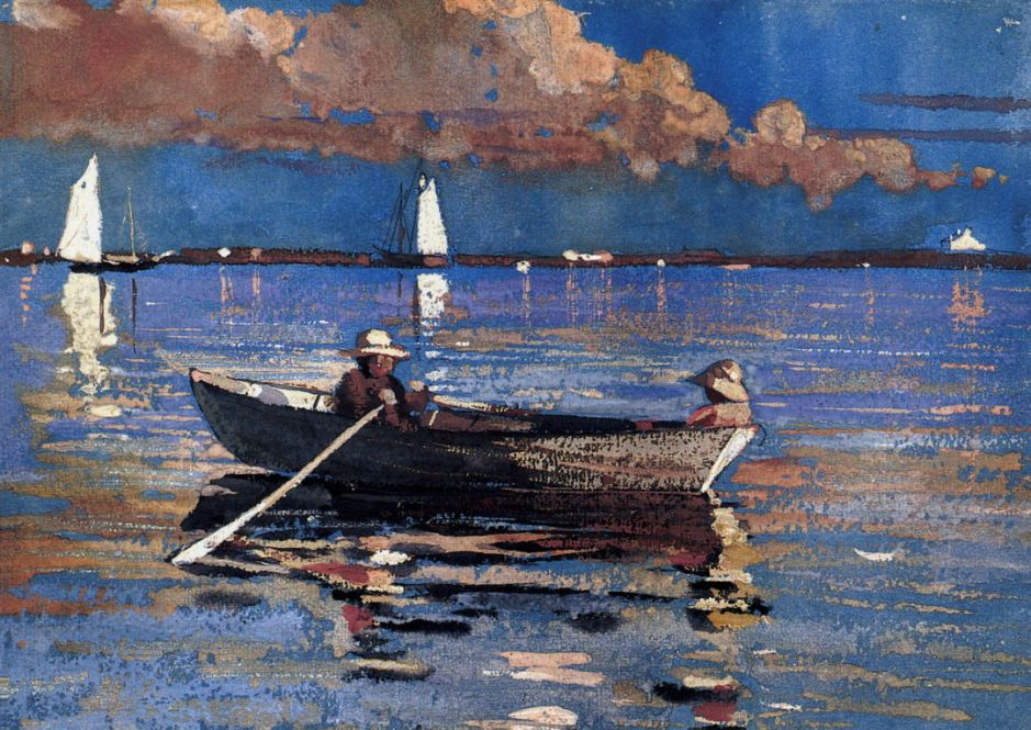 Winslow Homer, Gloucester Harbour (1873), watercolour and gouache on paper, 24.1 x 34.3 cm, Private collection. Wikimedia Commons.