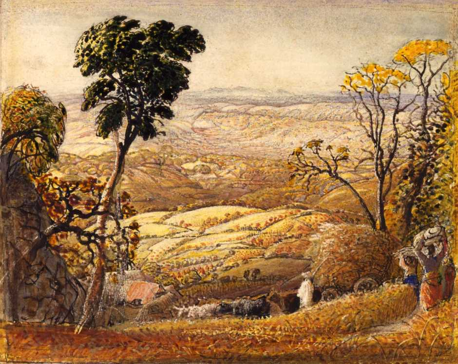 Samuel Palmer, The Golden Valley (c 1833-4), watercolour and gouache, 12.7 x 16.5 cm, Private collection. WikiArt.