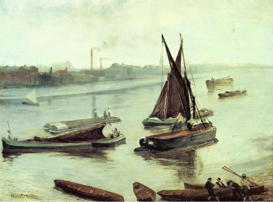 James Abbott McNeill Whistler, Grey and Silver: Old Battersea Reach (1863), oil on canvas, 50.8 x 68.6 cm, Art Institute of Chicago, Chicago, IL. WikiArt.