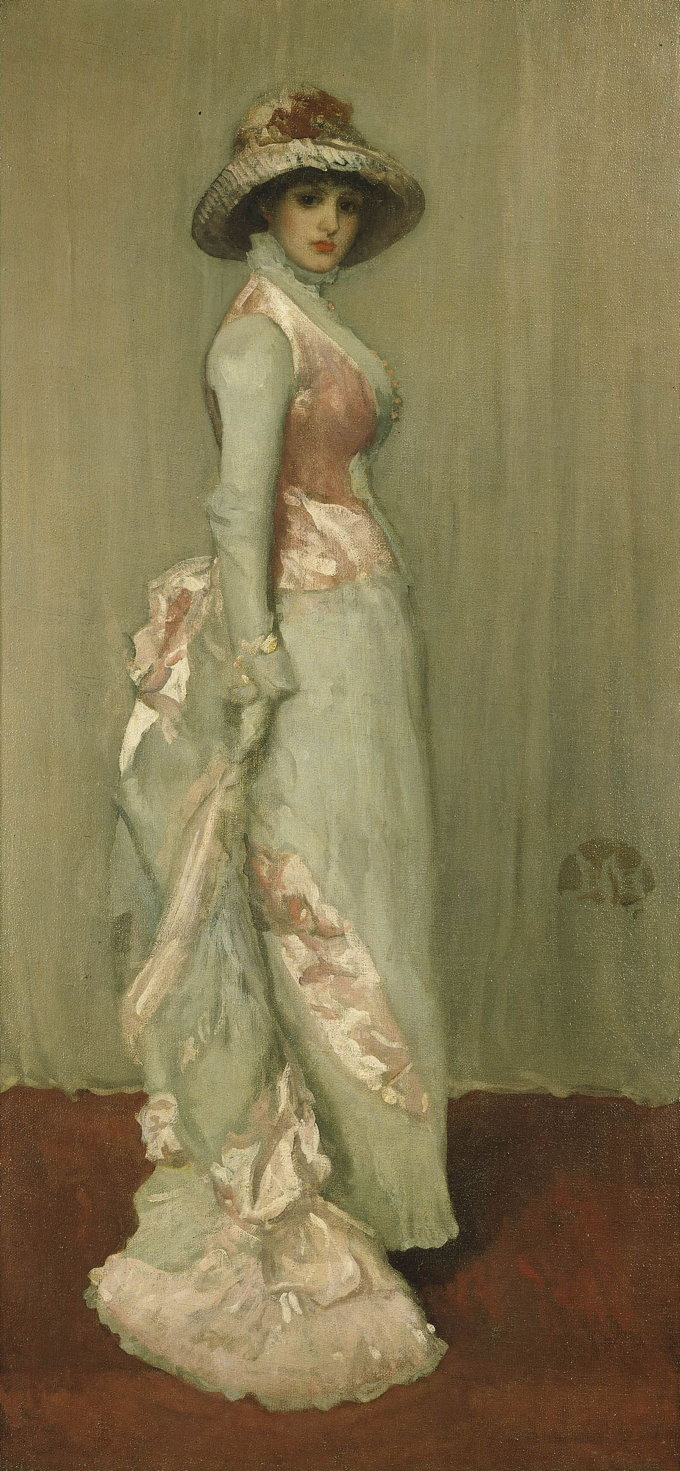 James Abbott McNeill Whistler, Harmony in Pink and Grey: Portrait of Lady Meux (1881-2), oil on canvas, 103.7 x 93 cm, The Frick Collection, New York, NY. WikiArt.