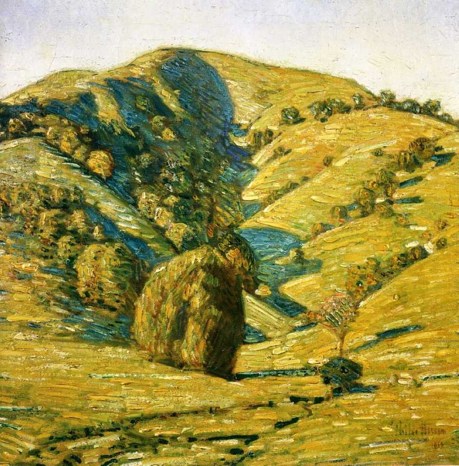 Frederick Childe Hassam, Hill of the Sun, San Anselmo, California (1914), oil on canvas, 24.1 x 24.1 cm, Oakland Museum of California, Oakland, CA. WikiArt.