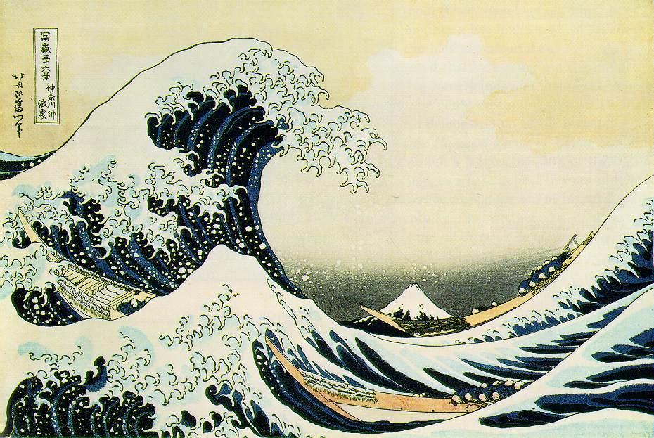"Katsushika Hokusai, The Great Wave of Kanagawa (1831), woodcut print, in ""Thirty-six Views of Mount Fuji"", Private collection. WikiArt."