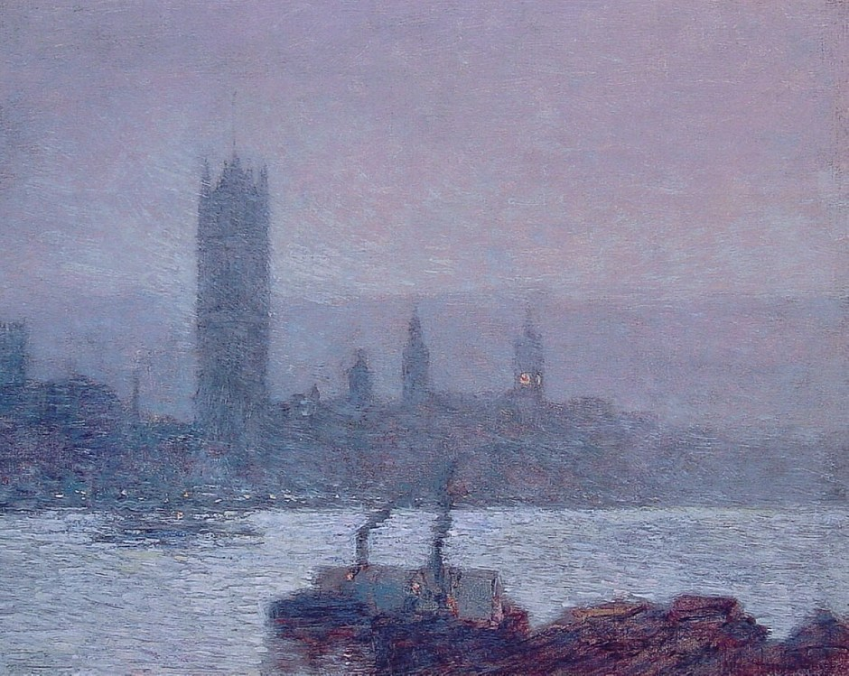 Frederick Childe Hassam, Houses of Parliament, Early Evening (1898), oil on canvas, 33 x 41.6 cm, Private collection. WikiArt.
