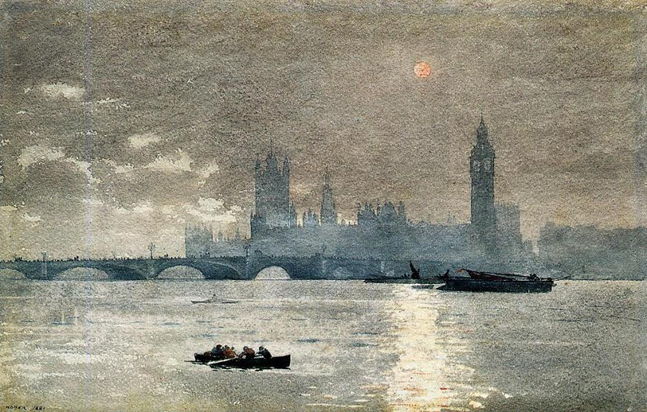 Winslow Homer, The Houses of Parliament (1881), watercolour on paper, 32.3 x 50.1 cm, Hirshhorn Museum and Sculpture Garden, Washington, DC. Wikimedia Commons.