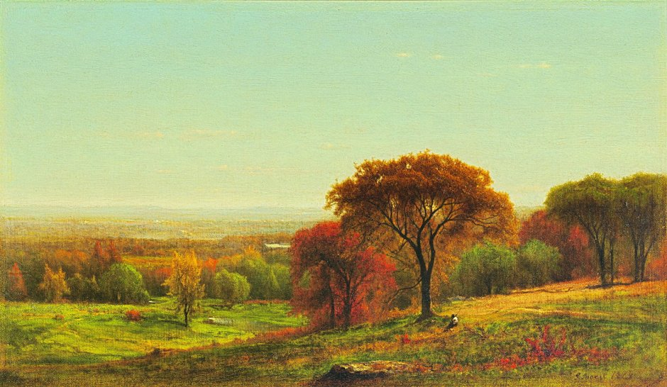 George Inness, Across the Hudson Valley in the Foothills of the Catskills (1868), oil on canvas, 38.1 x 66 cm, location not known. Wikimedia Commons.