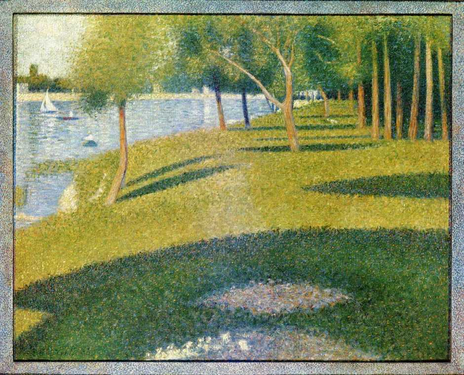 Georges Seurat, Landscape - the Island of the Grande Jatte (1884), oil on canvas, 69.9 x 85.7 cm, Private collection. WikiArt.