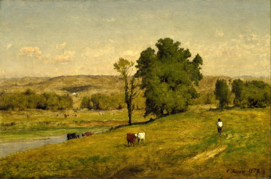 George Inness, Landscape (1878), oil on canvas, 30.2 x 45.7 cm, Museum of Fine Arts, Houston, TX. Wikimedia Commons.
