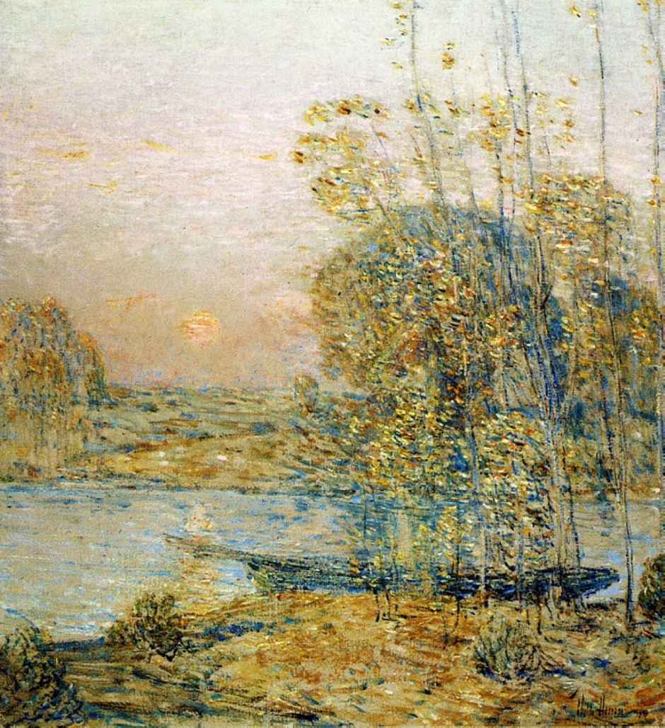 Frederick Childe Hassam, Late Afternoon (Sunset) (1903), oil on canvas, 57.2 x 50.8 cm, Florence Griswold Museum, Old Lyme, CT. WikiArt.