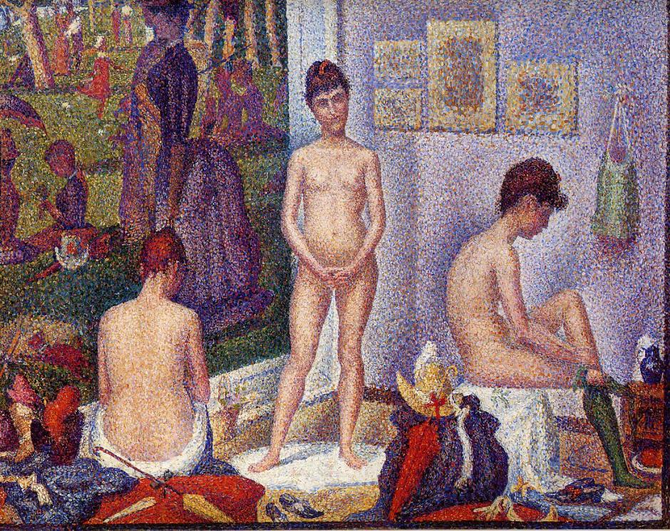 Georges Seurat, Poseuses (1886-8), oil on canvas, 200 x 249.9 cm, The Barnes Foundation, Philadelphia. WikiArt.