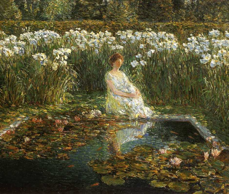 Frederick Childe Hassam, Lilies (1910), oil on canvas, 69.2 x 83.8 cm, Private collection. WikiArt.