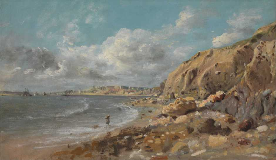 John Linnell, Coast Scene at Cullercoats near Whitley Bay (c 1834), oil on paper on board, 21.6 x 36.8 cm, Yale Center for British Art, New Haven, CT. Wikimedia Commons.