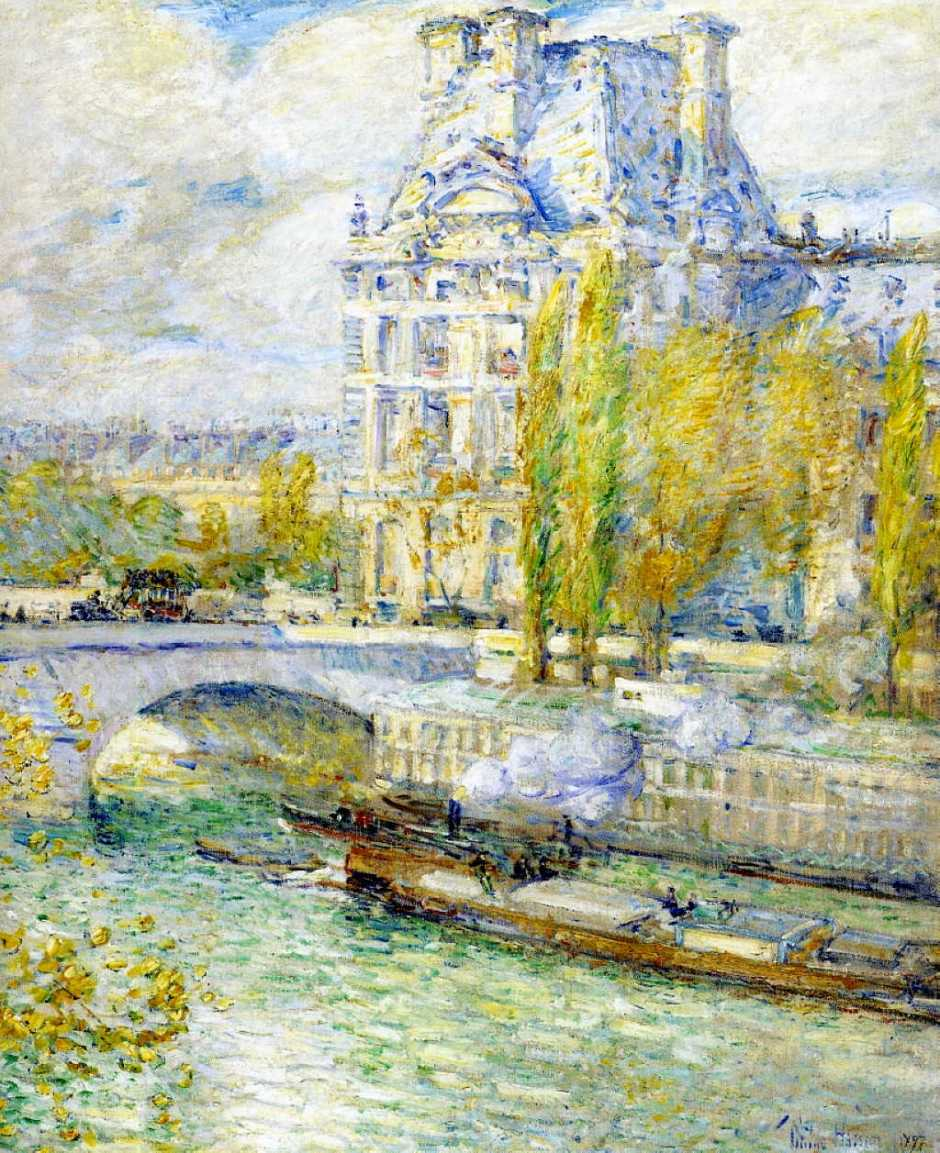 Frederick Childe Hassam, Le Louvre et le Pont Royal (1897), oil on canvas, 72.4 x 62.2 cm, MSC Forsyth Center Galleries, Texas A and M University, College Station, TX. WikiArt.