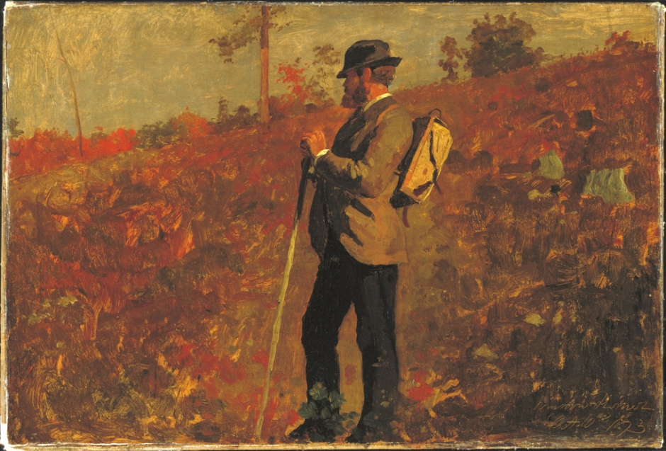 Winslow Homer, Man with a Knapsack (1873), oil on canvas, 57.2 x 74.9 cm, Cooper-Hewitt, Smithsonian Design Museum, New York, NY. Wikimedia Commons.