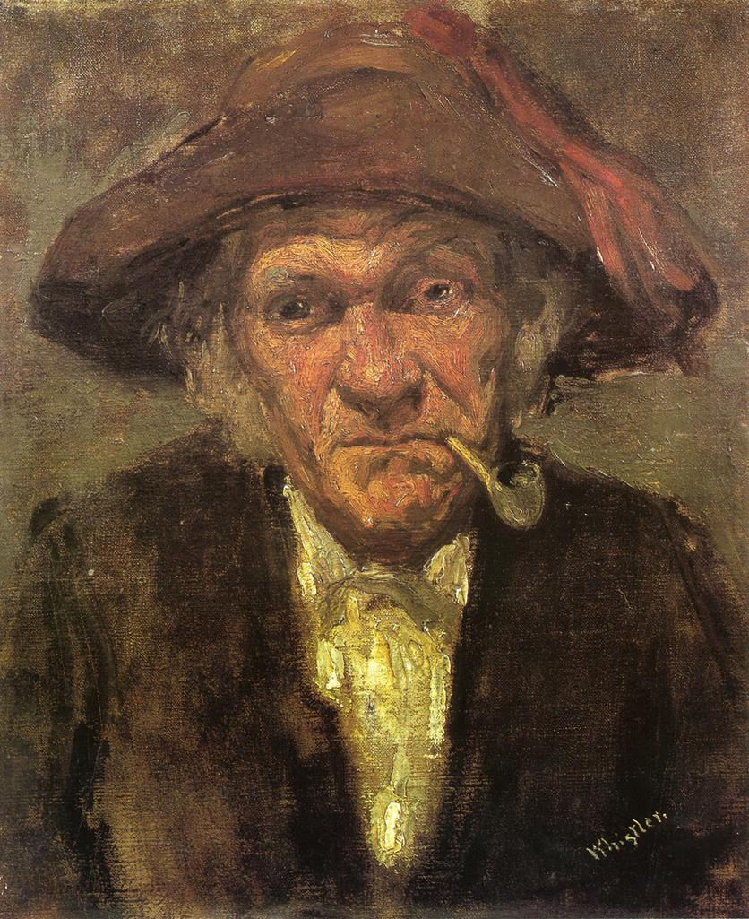 James Abbott McNeill Whistler, Head of Old Man Smoking (c 1858), oil on canvas, 41 x 33 cm, Musée d'Orsay, Paris. WikiArt.