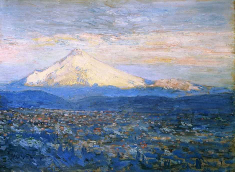Frederick Childe Hassam, Mount Hood (1908), oil on canvas, 45.7 x 63.5 cm, Portland Art Museum, Portland, OR. WikiArt.