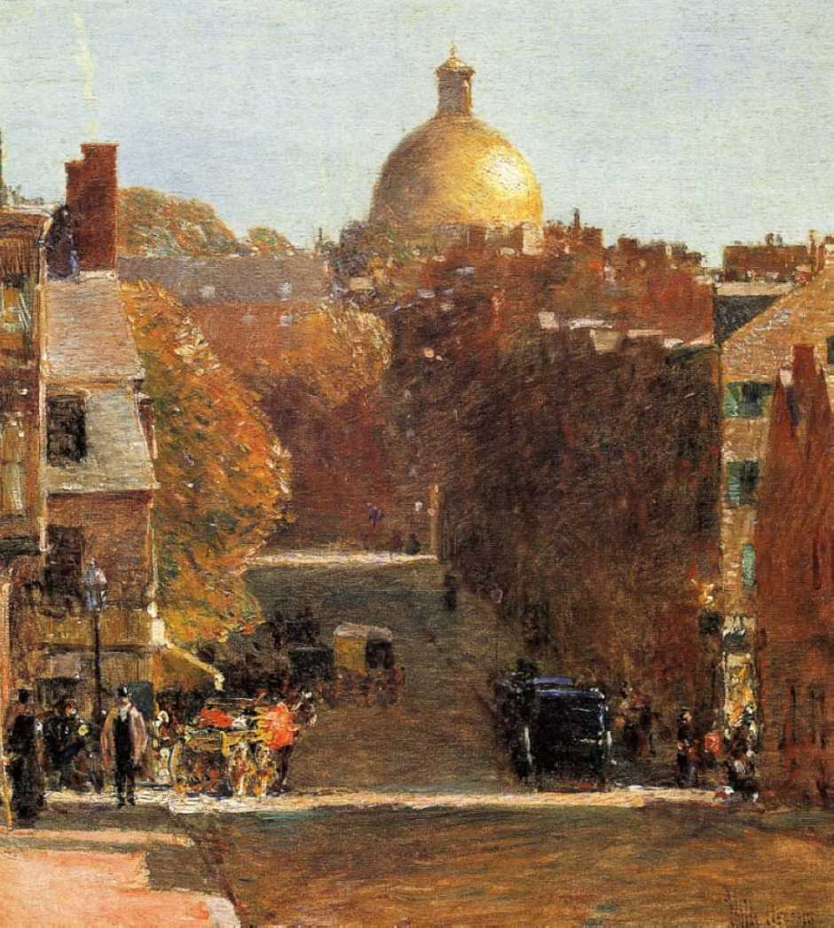 Frederick Childe Hassam, Mount Vernon Street, Boston, Looking Towards the State House (c 1890), oil on canvas, 45.7 x 40.6 cm, Private collection. WikiArt.
