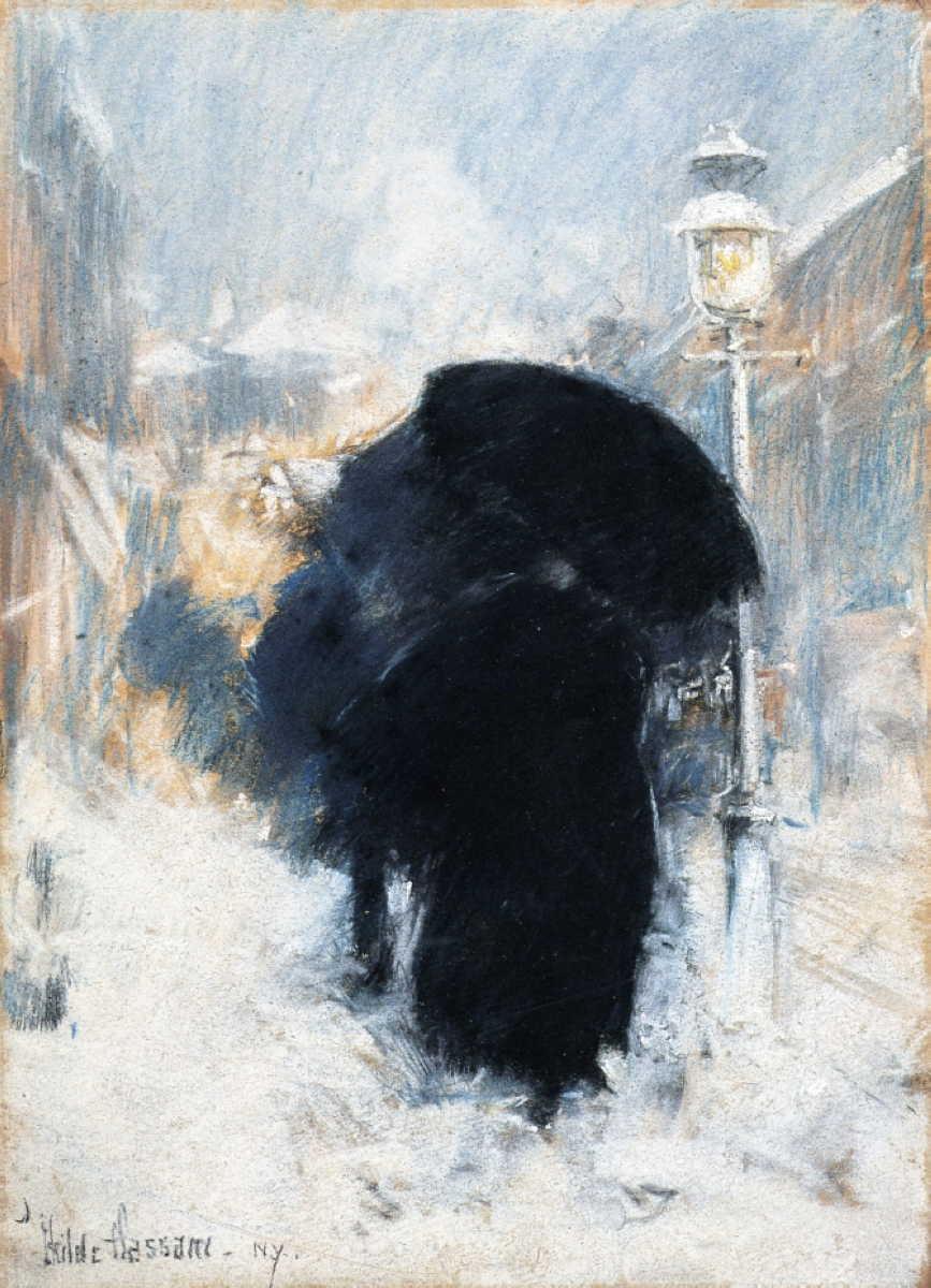 Frederick Childe Hassam, A New York Blizzard (c 1890), pastel on grey paper, 34.9 x 24.1 cm, Isabella Stewart Gardner Museum, Boston, MA. WikiArt.