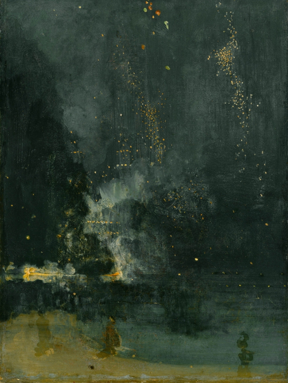 James Abbott McNeill Whistler, Nocturne in Black and Gold: The Falling Rocket (1875), oil on wood, 60.3 x 46.6 cm, Detroit Institute of Arts, Detroit, MI. WikiArt.