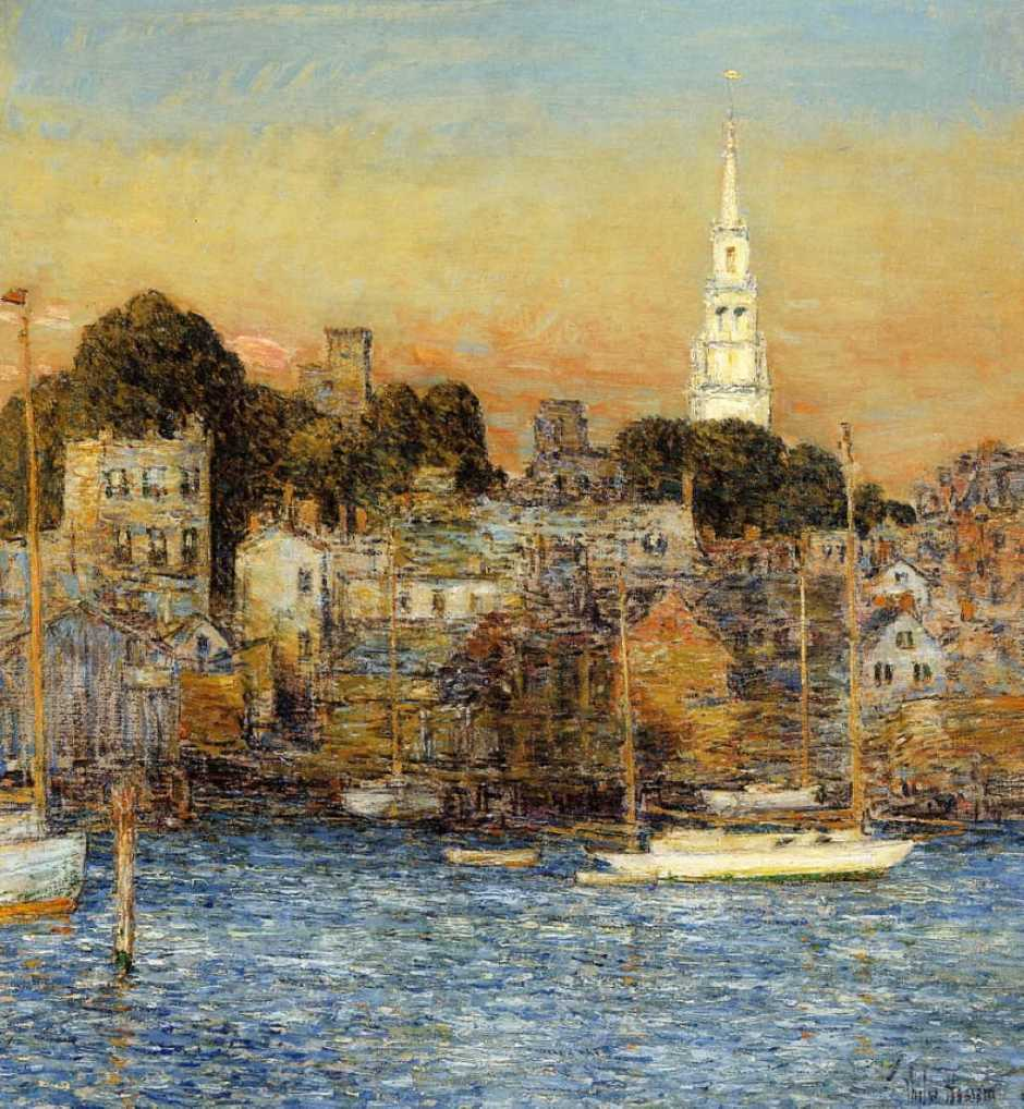 Frederick Childe Hassam, October Sundown, Newport (1901), oil on canvas, 67.2 x 61.8 cm, Private collection. WikiArt.