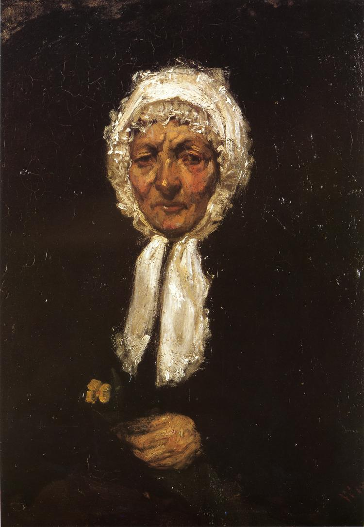 James Abbott McNeill Whistler, Old Mother Gerard (1858-9), oil on canvas, 30.48 x 21.91 cm, Private collection. WikiArt.