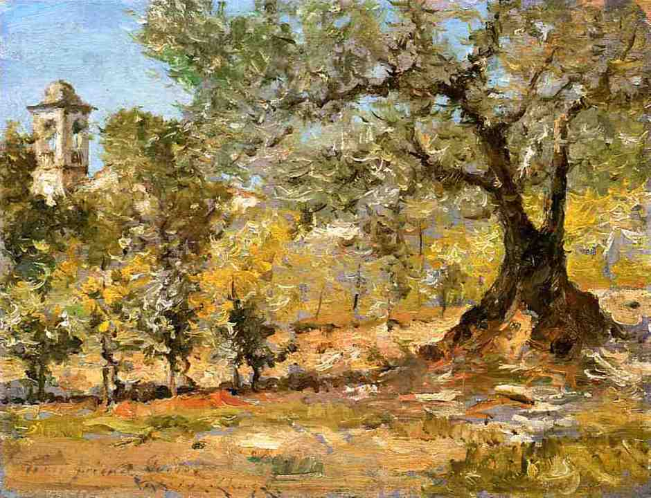 William Merritt Chase, Olive Trees, Florence (1911), oil on panel, 23.18 x 30.48 cm, Private collection. WikiArt.