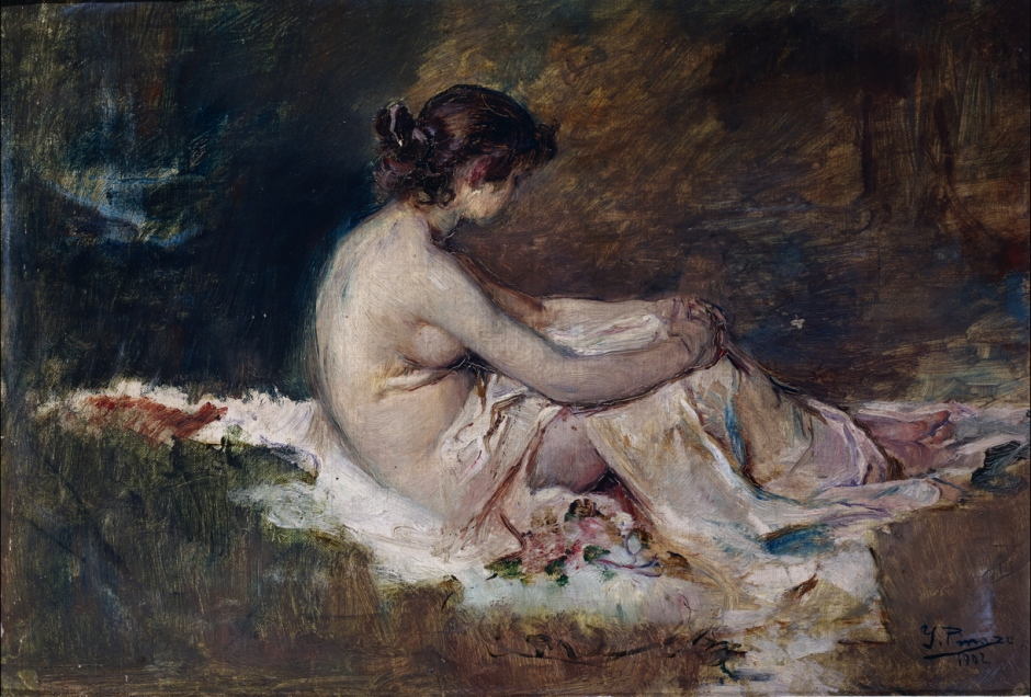 Ignacio Pinazo Camarlench, Nude woman (1902), oil on canvas, dimensions not known, Museo del Prado, Madrid. Wikimedia Commons.