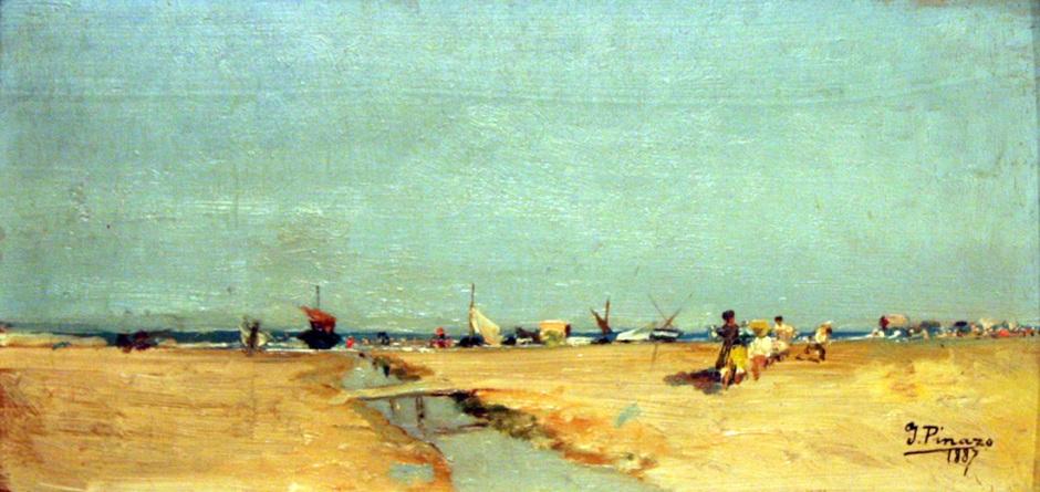 Ignacio Pinazo Camarlench, Malvarrosa Beach (1887), oil on canvas, 20 x 39.5 cm, Museo de la Ciudad de Valencia, Valencia. Wikimedia Commons.