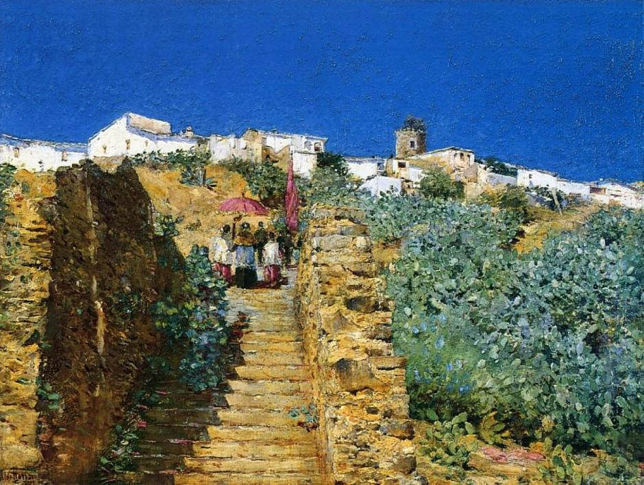 Frederick Childe Hassam, Church Procession, Spanish Steps (c 1883), oil on canvas, dimensions not known, Private collection. WikiArt.