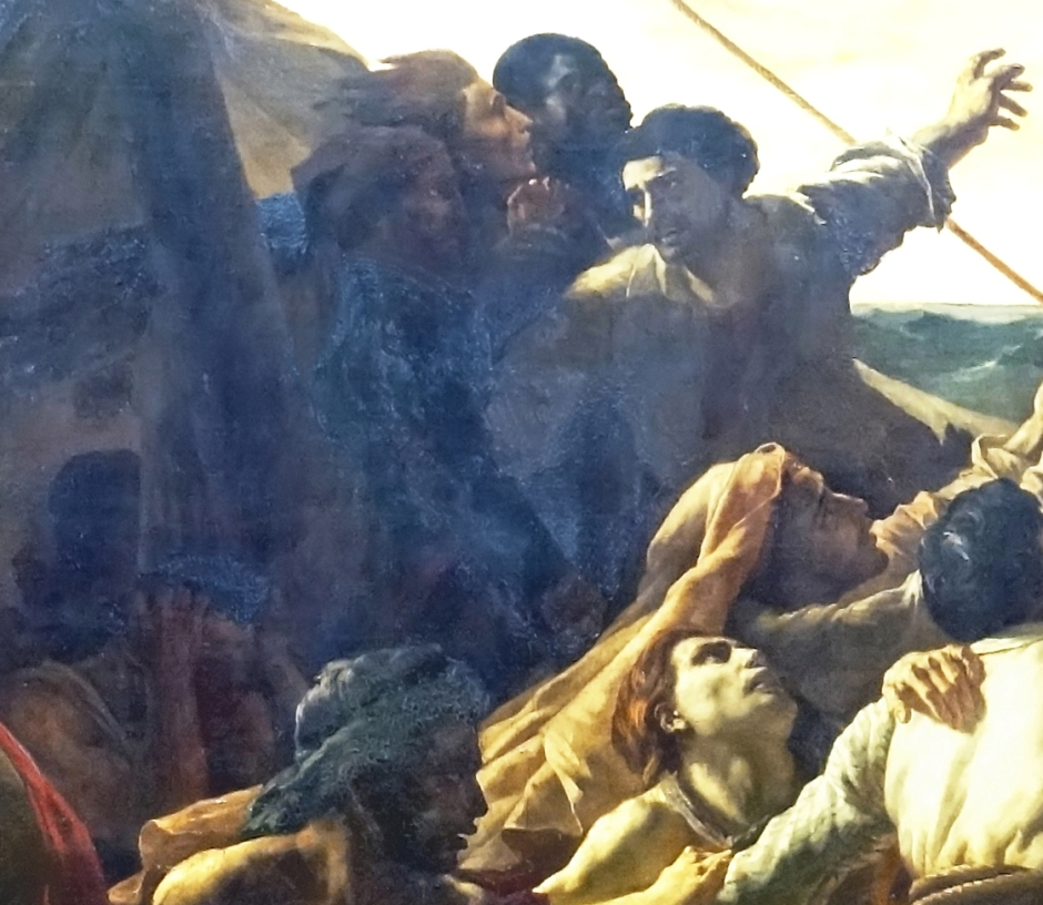Théodore Géricault, The Raft of the Medusa (detail showing the deteriorating paint) (1818-9), oil on canvas, 491 x 716 cm, Musée du Louvre, Paris. Photo by Dennis Jarvis from Halifax, Canada, via Wikimedia Commons.