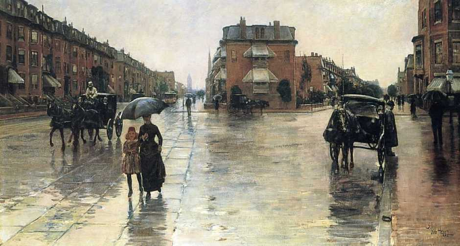 Frederick Childe Hassam, Rainy Day, Columbus Avenue, Boston (1885), oil on canvas, 66.4 x 121.9 cm, Toledo Museum of Art, Toledo, OH. WikiArt.