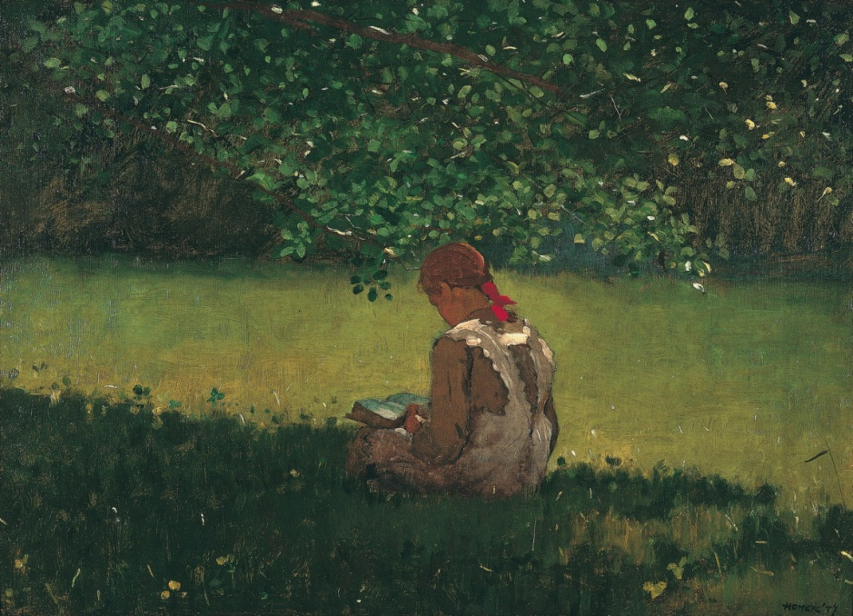Winslow Homer, Reading by the Brook (1879), oil on canvas, 40.3 x 57.8 cm, Memphis Brooks Museum of Art, Memphis, TN. Memphis Brooks Museum of Art, via Wikimedia Commons.