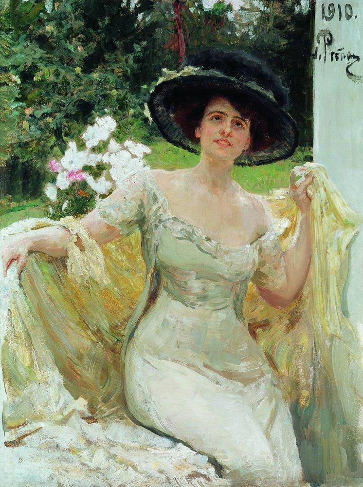 Ilya Yefimovich Repin, Portrait of Bella Gorskaya (1910), oil on canvas, 125 x 93 cm, location not known. WikiArt.