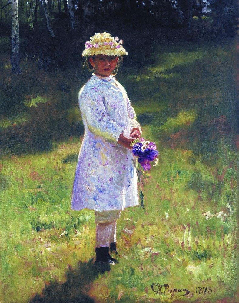 Ilya Yefimovich Repin, Girl with Flowers. Daughter of the Artist (1878), oil on canvas, 61 x 49 cm, Museum of the Academy of Arts, Saint Petersburg. WikiArt.