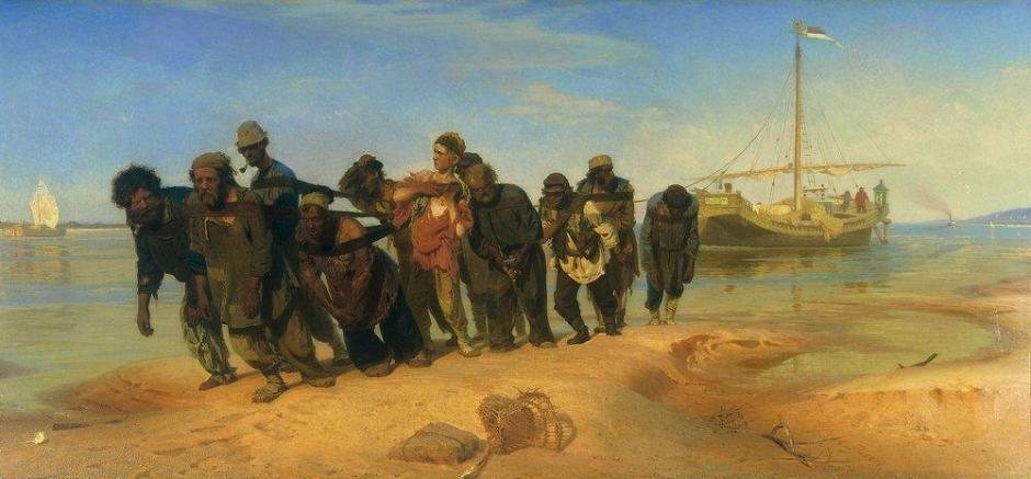 Ilya Yefimovich Repin, Barge Haulers on the Volga (1870-3), oil on canvas, 131.5 x 281 cm, State Russian Museum, Saint Petersburg. WikiArt.