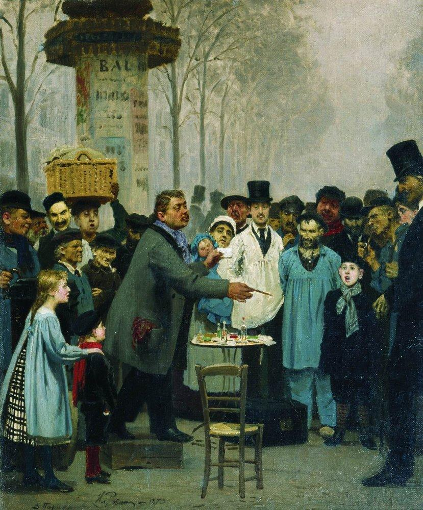 Ilya Yefimovich Repin, A Newspaper Seller in Paris (1873), oil on canvas, dimensions not known, Tretyakov Gallery, Moscow. WikiArt.