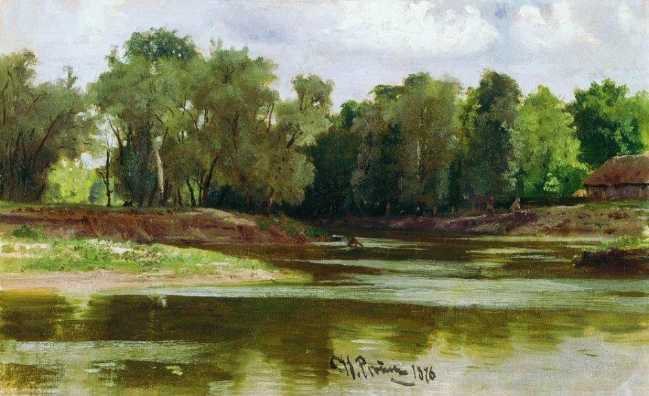 Ilya Yefimovich Repin, Riverbank (1873), oil on canvas, dimensions not known, The K. Savitsky Picture Gallery, Penza, Russia. WikiArt.