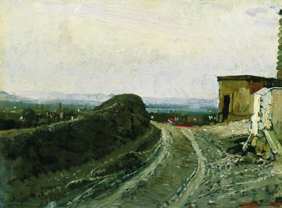 Ilya Yefimovich Repin, The Road from Montmartre in Paris (1875-6), oil on canvas, 24.5 x 32.5 cm, Tretyakov Gallery, Moscow. WikiArt.