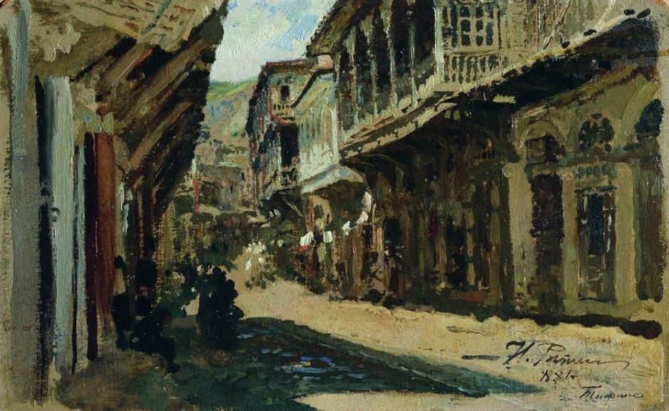 Ilya Yefimovich Repin, Street in Tiflis (Tblisi, Georgia) (1881), oil on canvas, 14.5 x 23.5 cm, The Pskov State United Historical, Architectural and Fine Arts Museum, Russia. WikiArt.