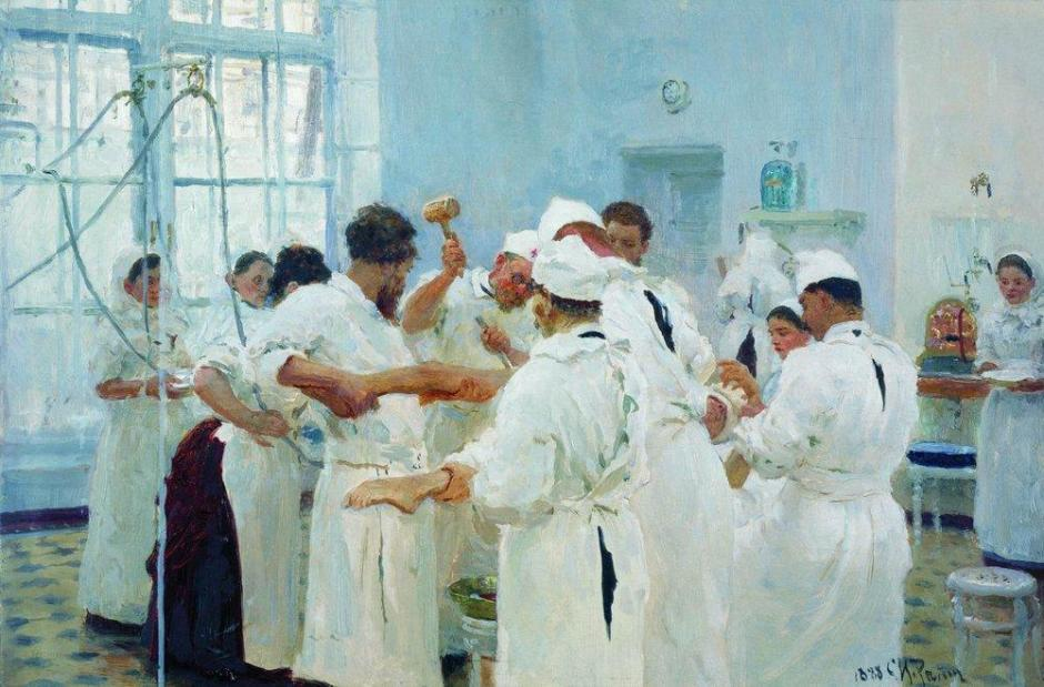 Ilya Yefimovich Repin, The Surgeon E Pavlov in the Operating Theatre (1888), oil on canvas, 27.8 x 40.3 cm, Tretyakov Gallery, Moscow. WikiArt.