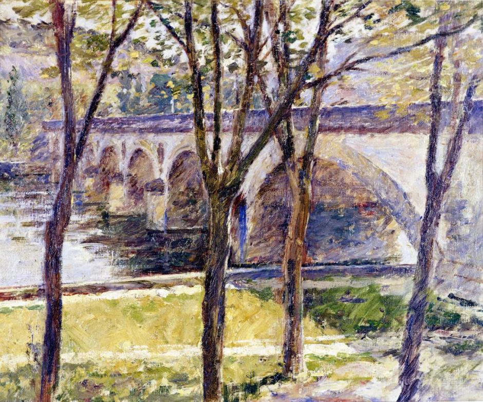 Theodore Robinson, Bridge near Giverny (c 1892), oil on canvas, 48.3 x 55.9 cm, Muskegon Museum of Art, Muskegon, MI. Wikimedia Commons.