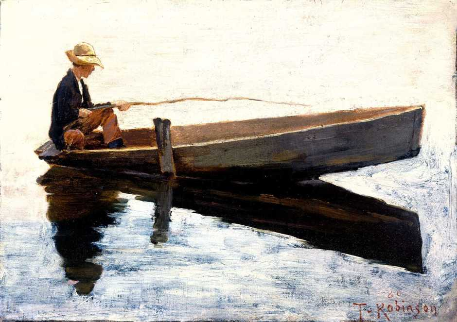 Theodore Robinson, Boy in a Boat Fishing (1880), oil on panel, 25.2 x 34.6 cm, Colby College Museum of Art, Waterville, Maine. Wikimedia Commons.
