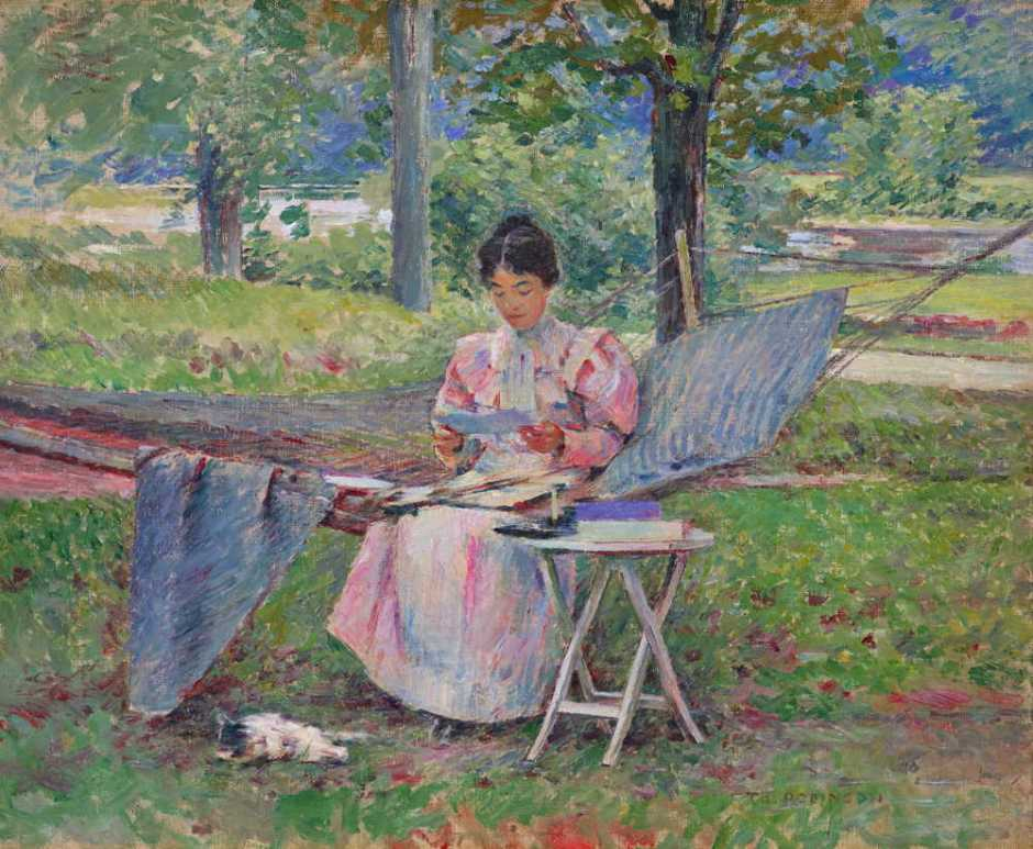 Theodore Robinson, Correspondence (1895), oil on canvas, 55.9 x 45.7 cm, Private collection. Wikimedia Commons.